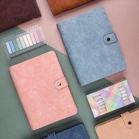 Notepads A6 Renk Deri Düğme Dizüstü Hattı Gevşek Yaprak 6 Delik Binder Endeksi Ayırıcı Sayfaları Not Defteri Ofis Organizatör Çanta Dergileri