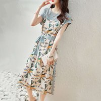 드레스 여름 문학 및 아트 스커트 레이스 허리 쇼 얇은 부드러운 바람 둥근 목 중간 길이 드레스 여성 패션