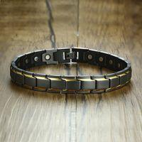 VNOX Anklet in pietra magnetica unica per le donne uomini nero in acciaio inox collegamenti di acciaio inox power stress gioielli