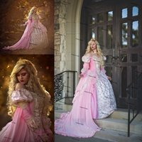 Pink Ombre Sleeping Beauty Princess Medieval prom Fantasy Gown Plus Size Long Sleeve Applique Lace-up Corset Evening Gown