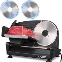 Fleisch Slicer Mühle, 200w Electric Deli-Lebensmittel mit zwei Edelstahlklinge mit 7,5 Zoll, 0-15 mm einstellbarer Dicke für Fleisch, Käse, Brot