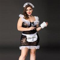Bras Set Sexy Fat Lady Lady Maid Uniform Set Plus Size Lingerie Cosplay per le donne Porno Erotico Grande