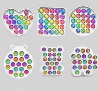 Rainbow Push Bubble Fidget Игрушка Обновлена версия Красочный ABS Сенсорная тревога Рельеф для детей для детей Дети Декомпрессионные игрушки Антисусная подарок и коробка