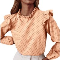 Ruffle Dots Blouses Ladies Fashion Round Neck Solid Color Autumn Winter Elegant Office Long Sleeve Irregular Button Shirts Top Women's &