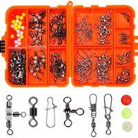 141pcs / box Carp Affattini da pesca Set con ganci Swivels Snap Stop Perline per Bait Lure Ice Inverno Accessori Accessori