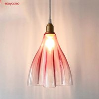 Pendant Lamps Nordic Stained Glass Pink Green Led Lights For Dining Room Kitchen Interior Decorative Home Art Hanging Lamp Luminaire