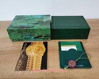 5 stücke Topseller Hohe Qualität Perpetual Uhren Boxen Grüne Uhr Original Box Karte Holz Ledertasche für 116660 126610 126710 124300 116500 Armbanduhren