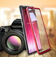 Copertura del telaio in metallo adsorbimento magnetico Caso integrale e posteriore in vetro temperato per Samsung Galaxy S21 Ultra S21 Plus 30pcs / lot