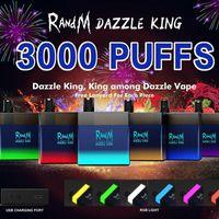 Authentic RandM DAZZLE KING Disposable Device E-cigarettes Kit 1100mAh Battery Prefilled 8ml Pods 3000 Puffs Vape Stick Pen Colorful LGB Led Light Bar Plus