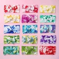 Kids Girls Bow Tie Dye Headbands Printed Baby Bowknot Hairbands Soft Nylon Elastic Baby Hair Wrap Wide Band Headband Hair Accessories LY6801