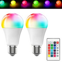 LED E27 10W Dimmable RGB LED Bulb High Brightness Plastic Aluminum Remote Control Light 220 270 Angle White AC 85-265V