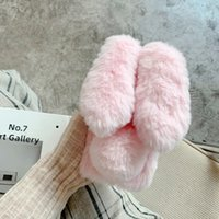 Luxury 3D Rabbit Genuine Hair Plush Cases For iPhone 13 Pro Max 12 Mini 11 XR XS X 8 7 6 Plus Bling Diamond Fluffy Fur Fuzzy Girl Lady Soft TPU Animal Ear Mobile Phone Cover