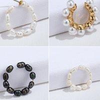 Zircon oreja manguito falso conch piercing sin piercing ancho multicapa perla oreja clip de mujer pendiente accesorios joyería