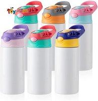 Süblimasyon Boşlukları Çocuklar Tumbler Bebek Şişe Sippy Kupaları 12 OZ Beyaz Su Şişesi Ile Saman ve Taşınabilir Kapak 5 Renk Kapakları Süblimasyon Baskı