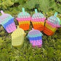 Rainbow Back To School Children's Poppers Bubbles Handbag Decompression Mini Coin Case Bag Wallet Fashion Cartoon Milk Tea Messenger Bag G95QYRW