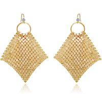 Wholesale Boho Dangle Jewelry Gold Color Hoop Drop Earrings Pave Spangle Geometry CZ Tassel For Women Party Gift & Chandelier