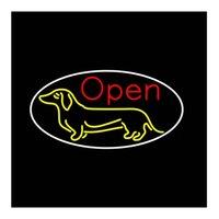 Dog Open Custom Custom personnalisé Tube en verre Véritable Tube d'animaux de compagnie Hôpital Hôpital Clinique Annonce Décoration Affichage Néon Sign 17x14