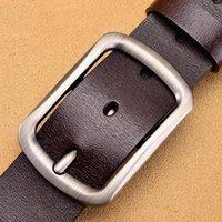 Belts Black Buckle Men Jeans Belt Genuine Leather For Waist Cowskin Casual Business Cowboy