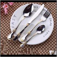 Sets Cuisine, Bar à manger Home Jardin Livraison 2021 24pcs Kubac Hommi Plaqué En acier inoxydable Dîner Dîner Couteau Couteau Fourchette Ensemble Gold D