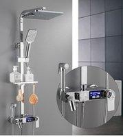 デジタルサーモスタットシャワー蛇口セット降雨ヘッド温度制御シングルハンドルミキサータップバスタブ蛇口バスルームセット