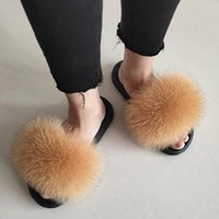 Slippers Real Fur Slide Summer Women'S Open-Toed Fluffy Casual Slider Indoor Plush Shoes