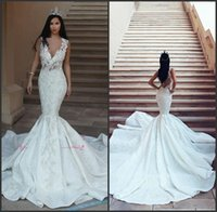 Illusion V Neck Organza Long Train Sexy Open Back Mermaid Wedding Dress robe de mariee princesse de luxe
