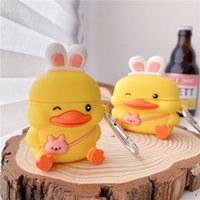 For AirPods Pro 2 1 Cases 3D Cute Cartoon Blinking Duck Protective Silicone Case Cover For Air Pods 3 Shockproof Earphone Accessories with Hook