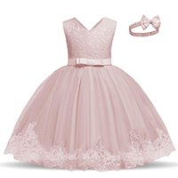 Girl's Dresses Elegant Lace Flower Girls Dress Embroidery Christening Gown Born Baby Clothes 0-5 Years Birthday Party Kids For