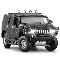 132 high simulation 2008 Hummer H2 off-road alloy car model Sound and light pull back door boy car toy for children gifts
