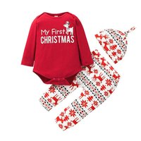 Christmas Baby Girls Outfits Boys Newborn Clothing Sets Infant Clothes Cotton Cartoon Long-Sleeved Romper Jumpsuit Pants Hat 3Pcs B8478