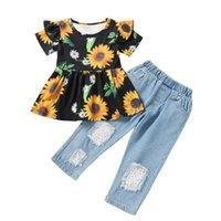 Çocuk Giyim Setleri Kız Kıyafetler Bebek Giysileri Çocuk Takım Elbise Çocuk Yaz Kısa Kollu Çiçek Üst Delik Denim Kot Pantolon 2 adet 3343 Q2