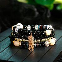 Bohemian Round Beads Multilayered Set Bracelets For Women Jewelry Handmade Chains Bangle 5pcs Beaded Crystal Owls Ethnic Pendant Beaded, Str