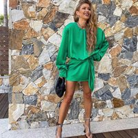Casual Dresses Nlzgmsj za dressed woman in satin elegant long sleeve short summer dress lady knot wrapped evening gown 07 CYV1