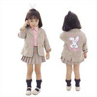 الخريف أزياء طفلة ملابس مجموعة 2 قطع الكرتون الأرنب سترة تنورة الأطفال منقوشة البدلة السترة الزي الفتيات