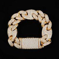 20mm ghiacciato cubano ovale braccialetto diamante 14k oro bianco placcato oro zirconi gioielli 7 pollici 8 pollici 9 pollici mariner catena di collegamento cubano