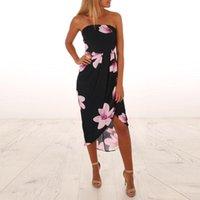 Casual Dresses Women's Elegant Floral Print Strapless Boho Dress Maxi Sundress Woman Party Night High Quality