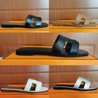 الفاخرة مصمم جلدية الصنادل السيدات الصيف الأحذية المسطحة الأزياء شاطئ النساء النعال H إلكتروني السحب 35-42