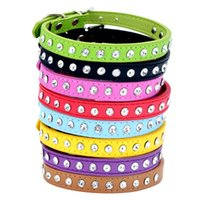 Dog Collars & Leashes 8pcs lot Leather Collar Diamond Pet Cat PU Leash For Dogs 1 Rows Rhinestone Necklace Puppy Accessories