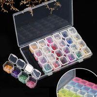 28 Gridos Slots separados Caja de almacenamiento vacío Clear Nail Art Rhinestones Herramientas Joyería Beads Mostrar caso Organizador
