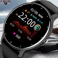 LIGE 2021 New Smart Watches Men Full Touch Screen Sport Fitness Watch IP67 Waterproof Bluetooth For Android ios smartwatch Men+box