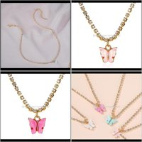 Chokers & Pendants Jewelry Butterfly Pendant Necklaces For Women Zircon Crystal Choker Gold Female Jewelry Collares Bijoux1 Drop Delivery 20