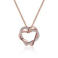 Women's necklace with Diamond Chain love rose gold silver women heart pendant necklace ladies styles fashion for Couples good quality N586