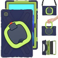 Heavy Duty Silicone Case for Samsung Galaxy Tab A7 10.4 Shockproof Cover T500 T505 Kids Rotatable Kickstand Protective Shell with Shoulder Strap
