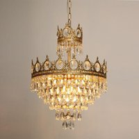 Pendant Lamps French Retro Copper Crown Crystal Chandelier Bedside Aisle Porch Living Room Lights Dining Cloakroom Chandeliers