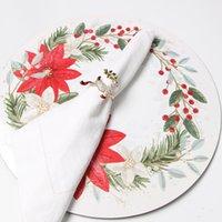 أزياء عيد الميلاد خواتم منديل سبيكة الكرتون جرس ندفة الثلج الأيائل فندق الديكور الماس المناديل حاملي GWA8877