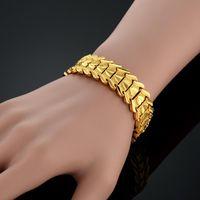 Link, Chain 19CM Link Bracelet Gold Color Chunky 15MM Wide Heart Mens Female Bracelets