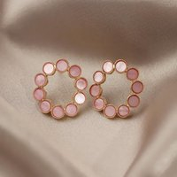 Stud OEING 925 Sterling Silver Women Earrings Pink Gem Simple Fine Jewelry Wedding Party Gift