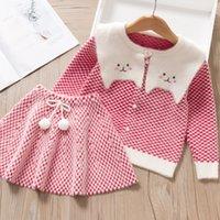 Vestido de niñas nueva marca Princess Vestido de manga larga Vestidos de niña Plaid Lindo vestido de fiesta Bow Tie Cabritos Niños Ropa Suéter