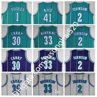 Rückwurf zurück 1 Tyrone Muggsy Bogues Jersey 2 Larry Johnson 30 Dell Curry Basketball Trikots Hemd 33 Alonzo Trauer 41 Glen Rice Hemden