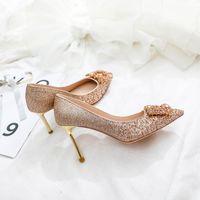 Dress Shoes Red Wedding Female Golden High Heels Stiletto Crystal Sexy Bridal